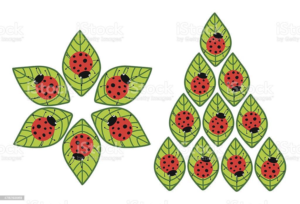 Ladybugs on leaves royalty-free stock vector art