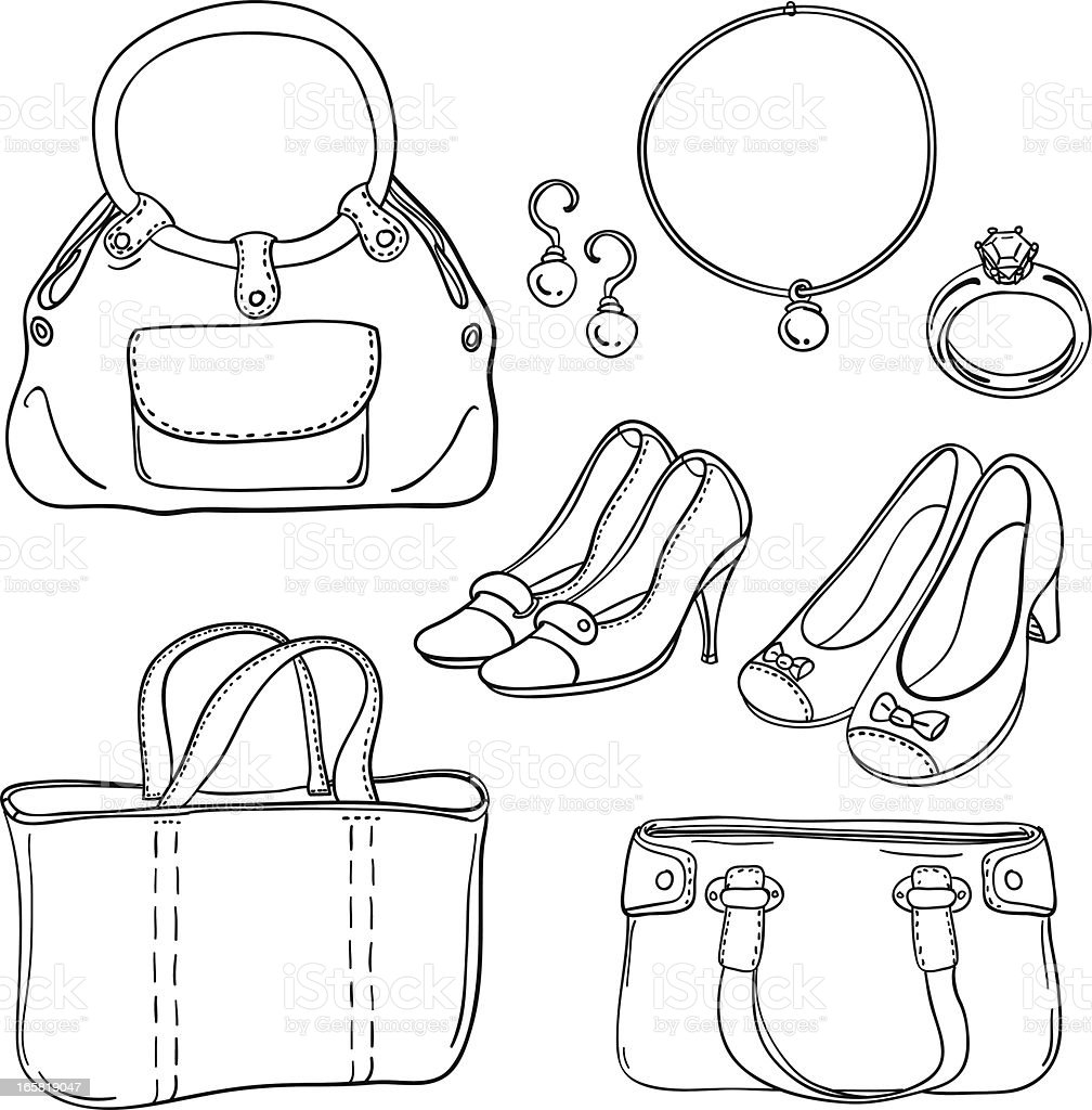 Lady's bag and accessories in black white royalty-free stock vector art