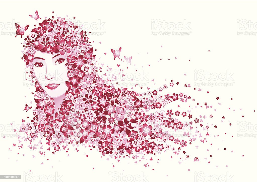 Lady's Floral Hair royalty-free stock vector art