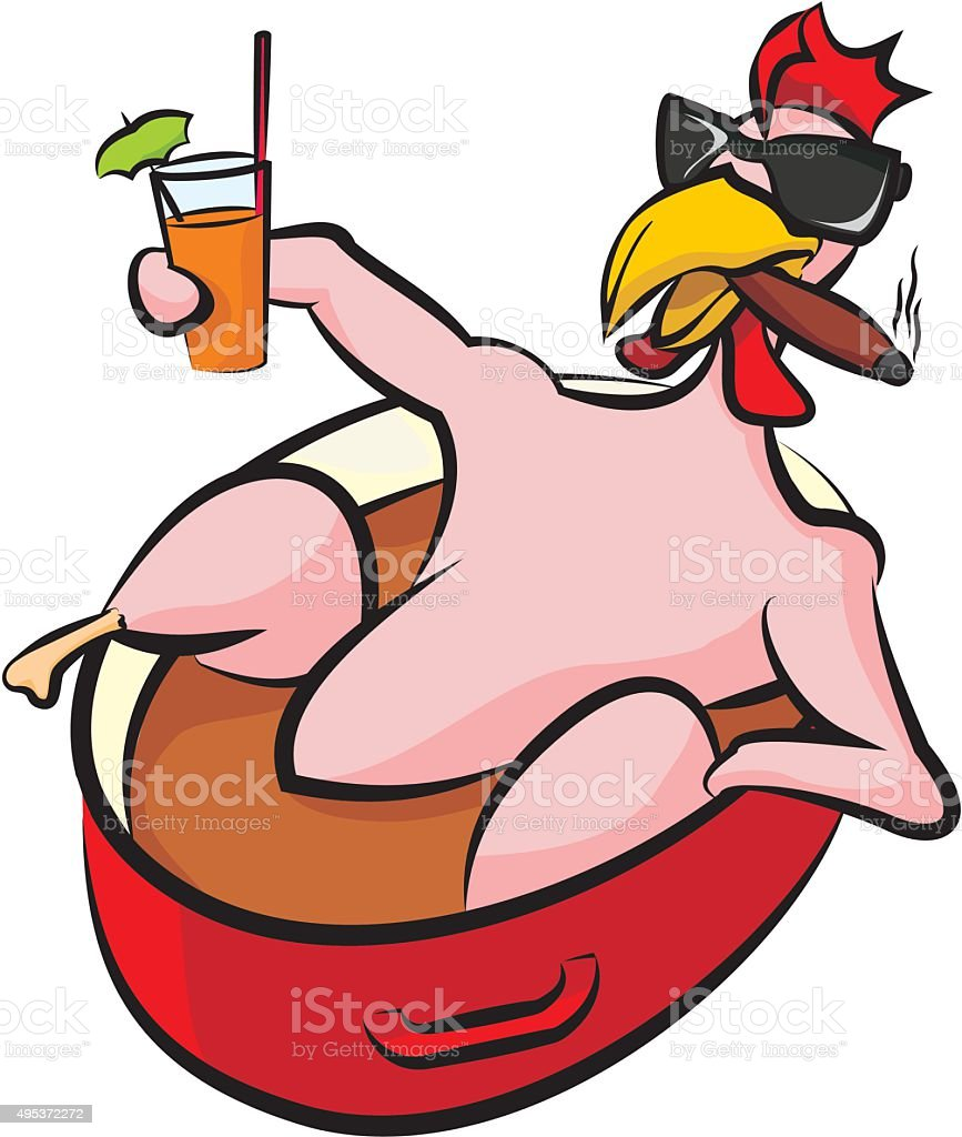 laid back chicken in a pot vector art illustration