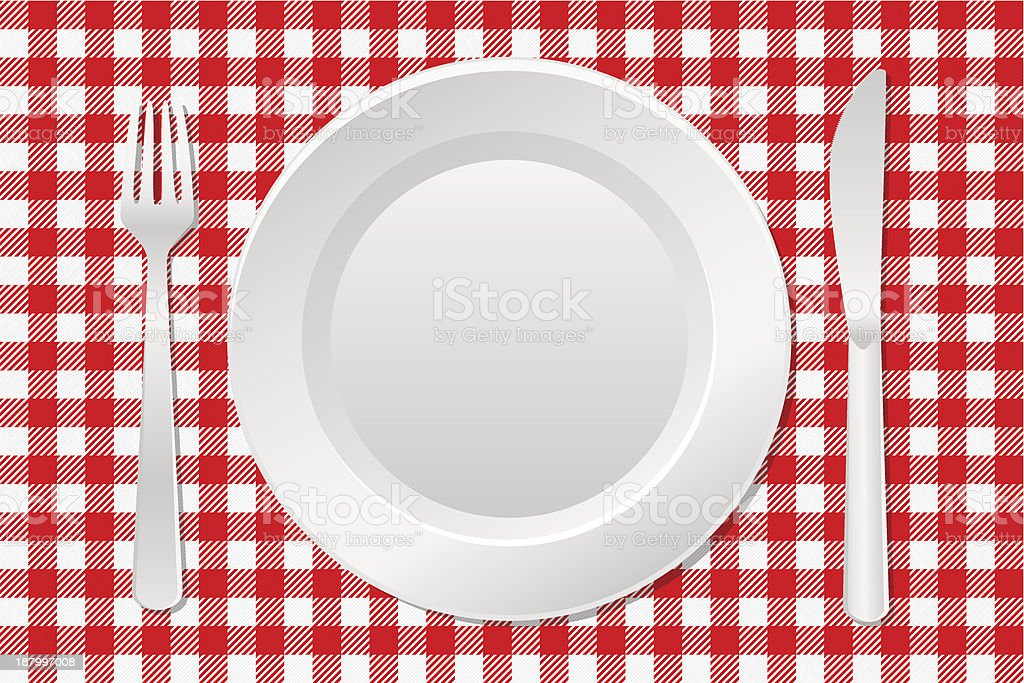 laid table with an empty plate vector art illustration