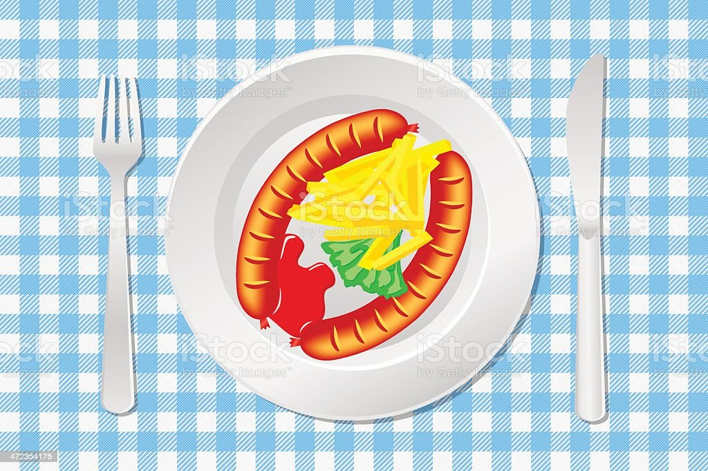 laid table with sausage, french fries and ketchup royalty-free stock vector art