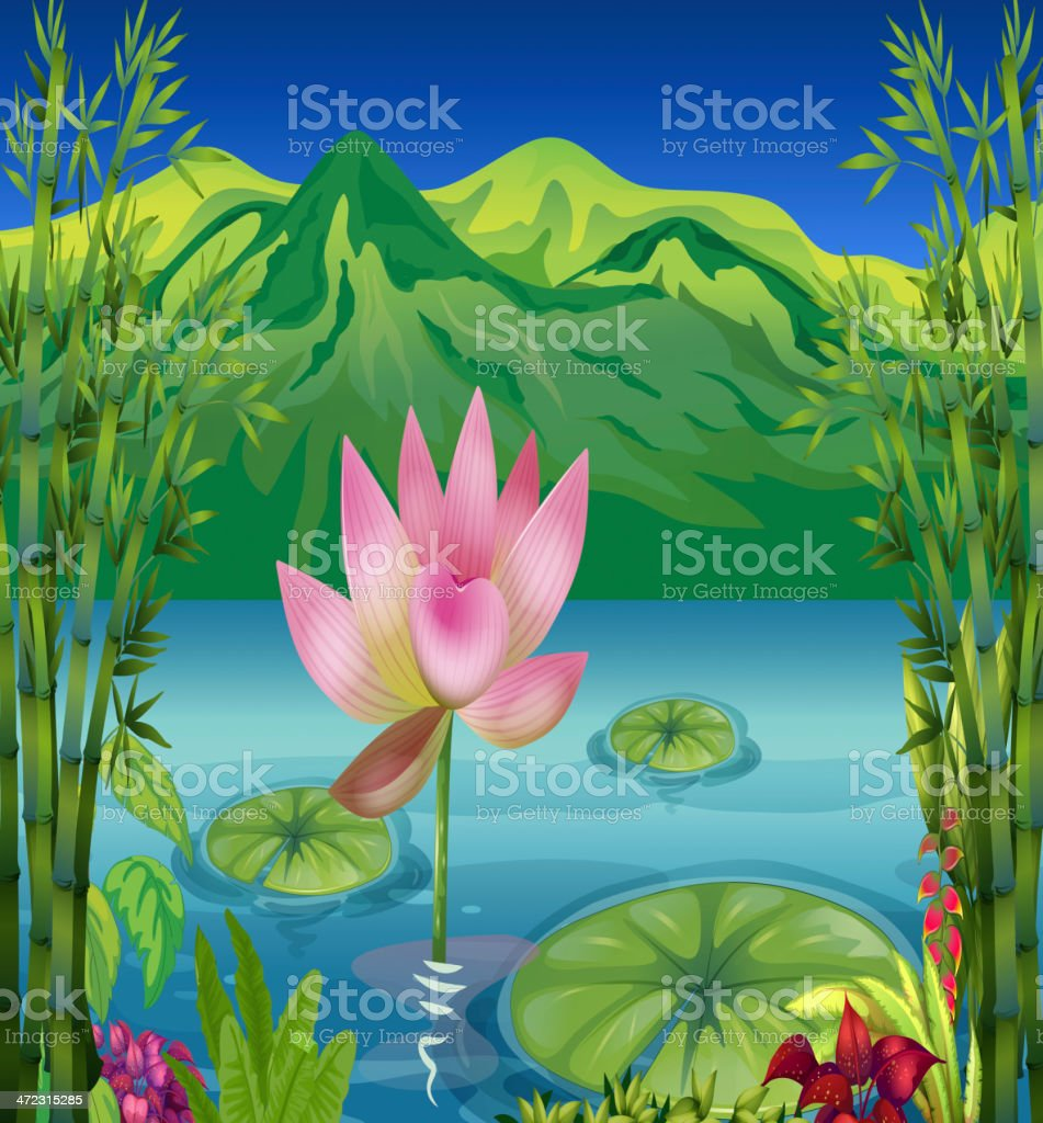 Lake and a beautiful landscape royalty-free stock vector art