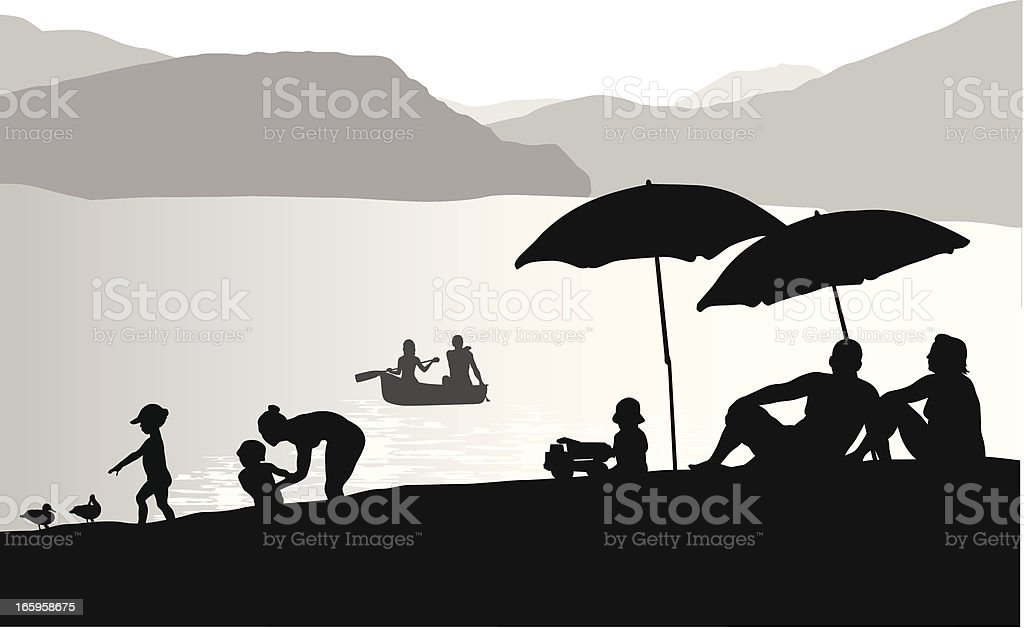Lake Beach Vector Silhouette royalty-free stock vector art