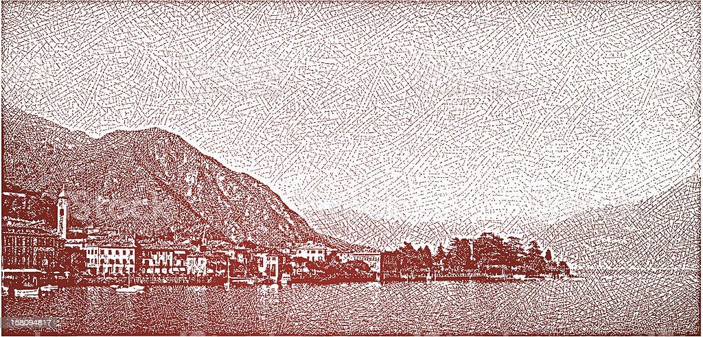 Lake Como, Italy and Villas vector art illustration