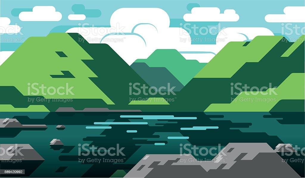 Lake District landscape vector art illustration