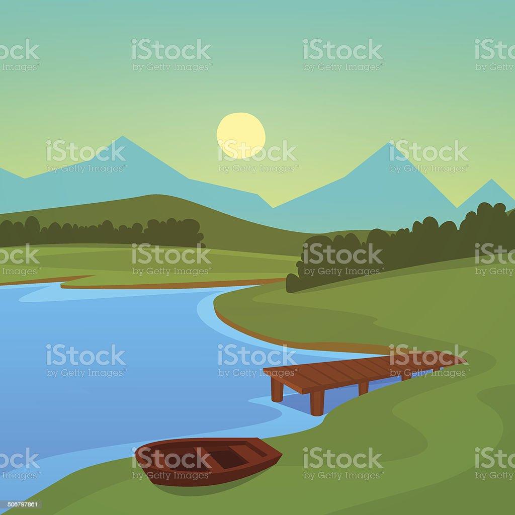 Lake Dock vector art illustration