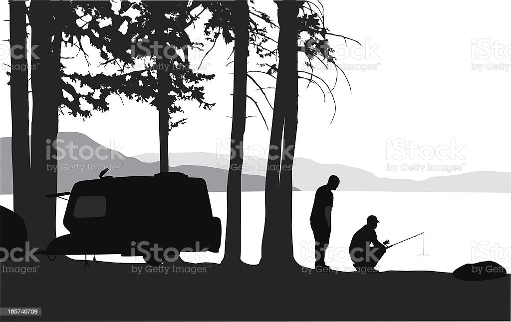 Lake Fishing Vector Silhouette royalty-free stock vector art