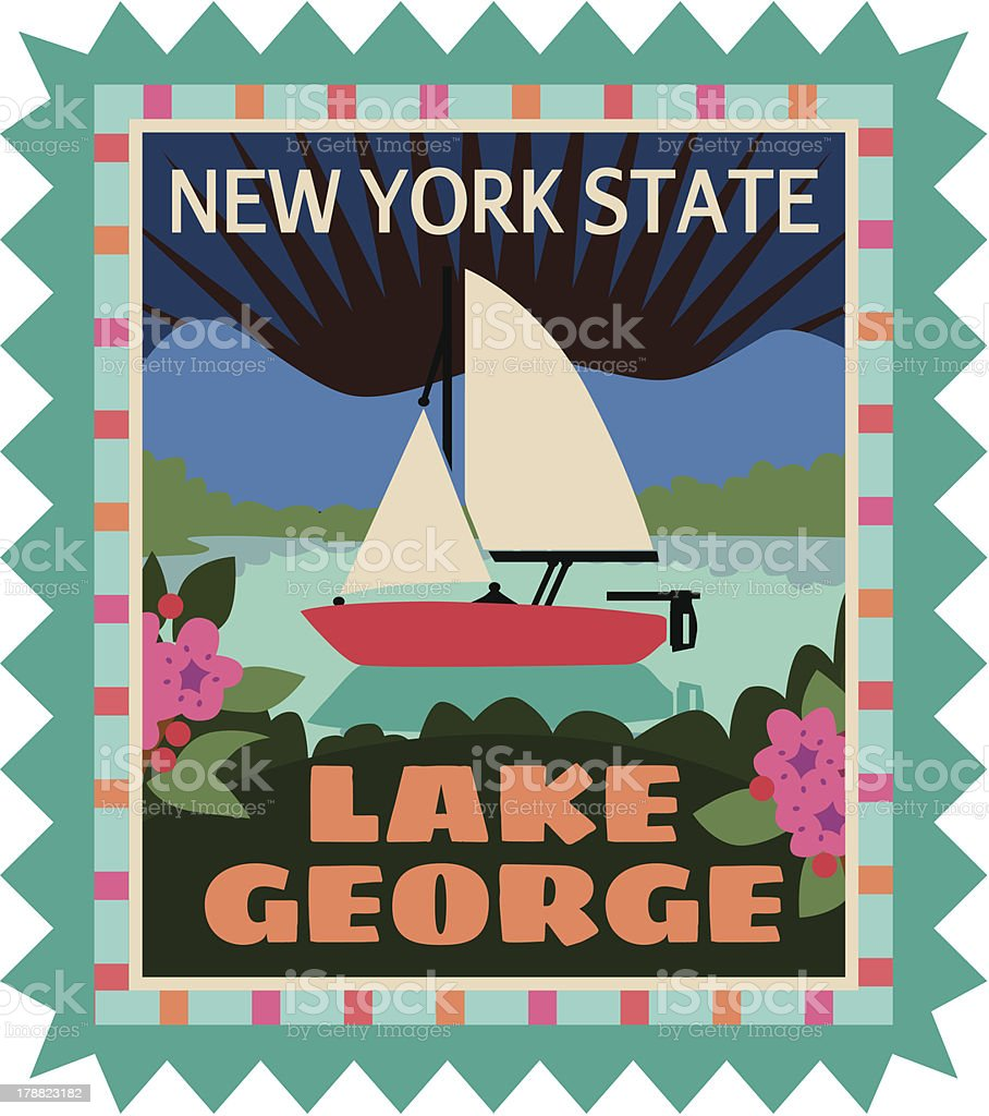 Lake George travel sticker or luggage label vector art illustration