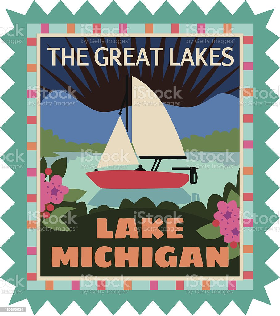 Lake Michigan luggage label or travel sticker vector art illustration