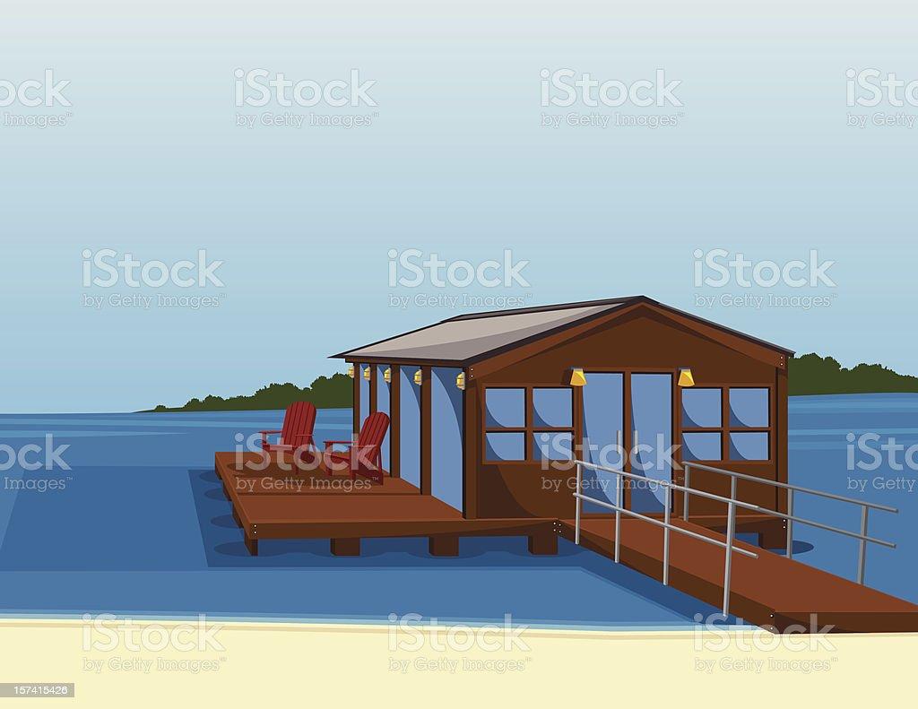 lake or beach house vector art illustration