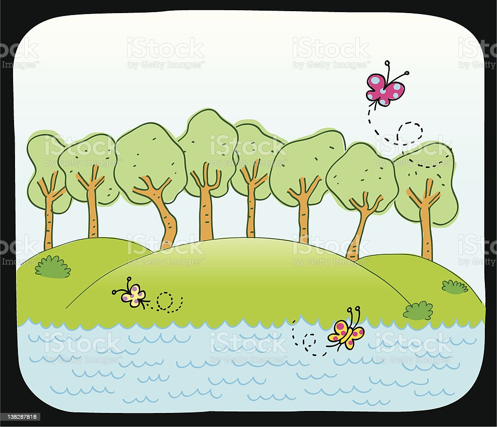 lake or sea and spring,summer nature vector cartoon illustration royalty-free stock vector art