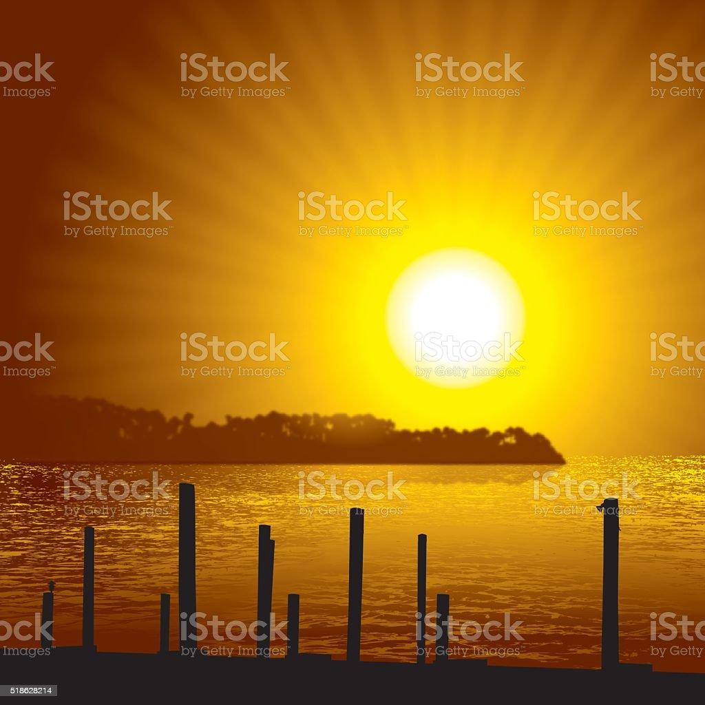 Lake Scene Background vector art illustration