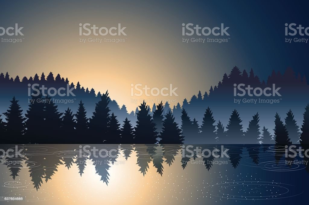 lake view and pine wood when sunrise vector art illustration