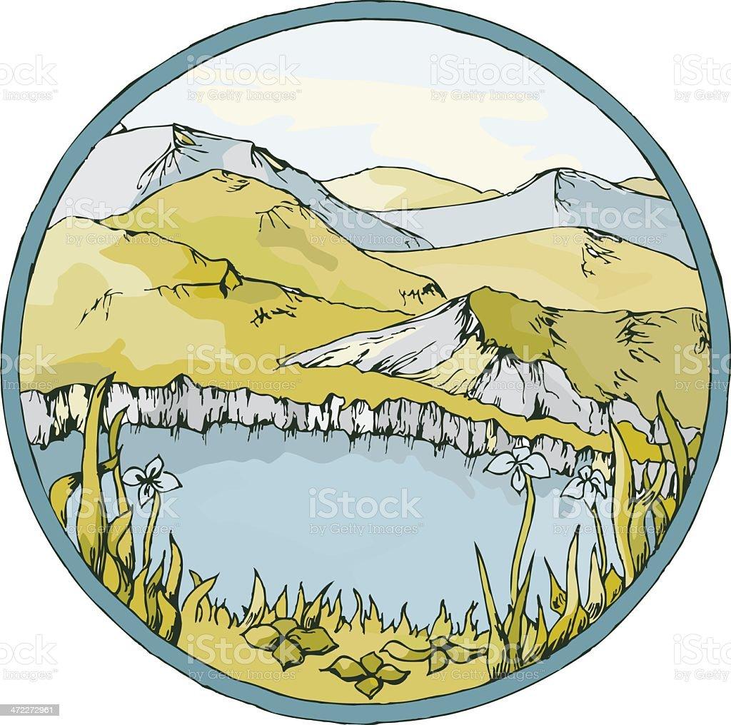 Lake view medallion vector art illustration