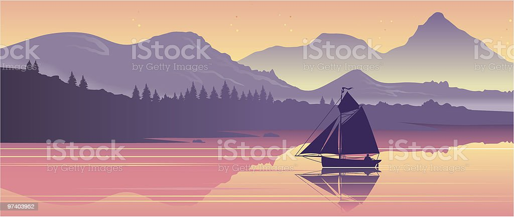 Lake with boat royalty-free stock vector art
