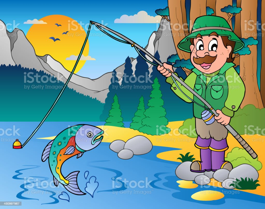 Lake with cartoon fisherman 1 royalty-free stock vector art