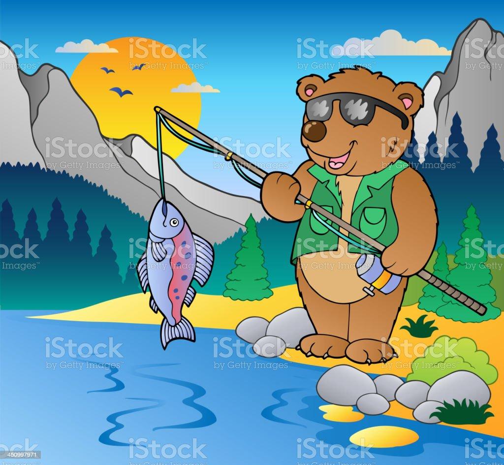 Lake with cartoon fisherman 2 royalty-free stock vector art