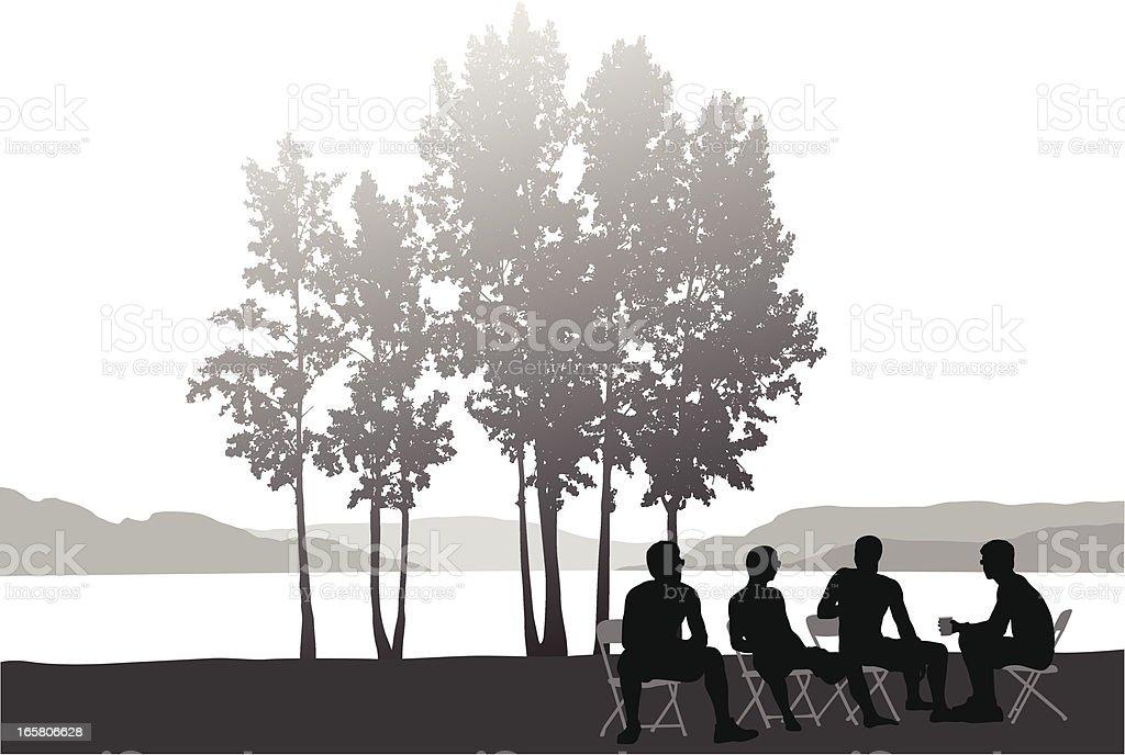 Lakeside Vector Silhouette royalty-free stock vector art