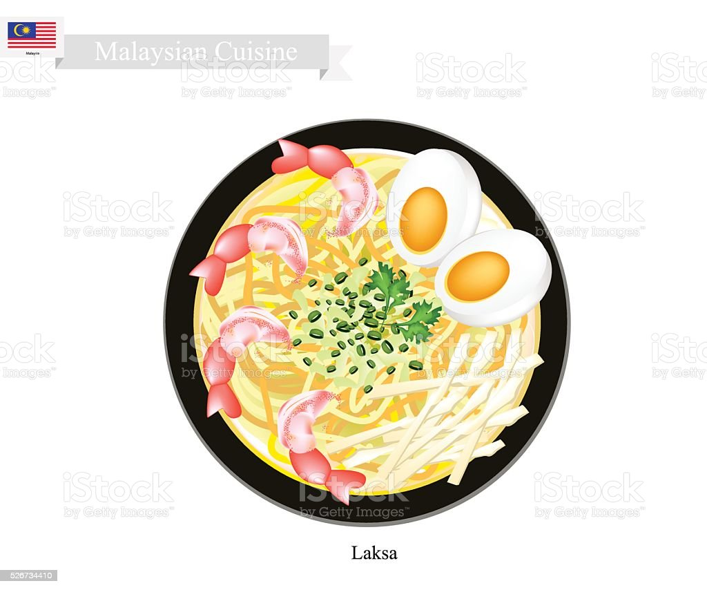 Laksa or Malaysian Rice Noodle in Spicy Soup vector art illustration