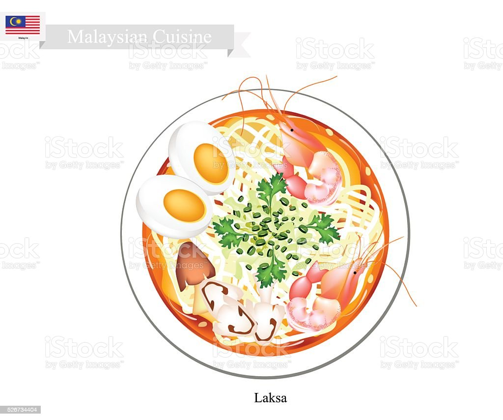 Laksa or Malaysian Spicy Rice Noodle Soup vector art illustration