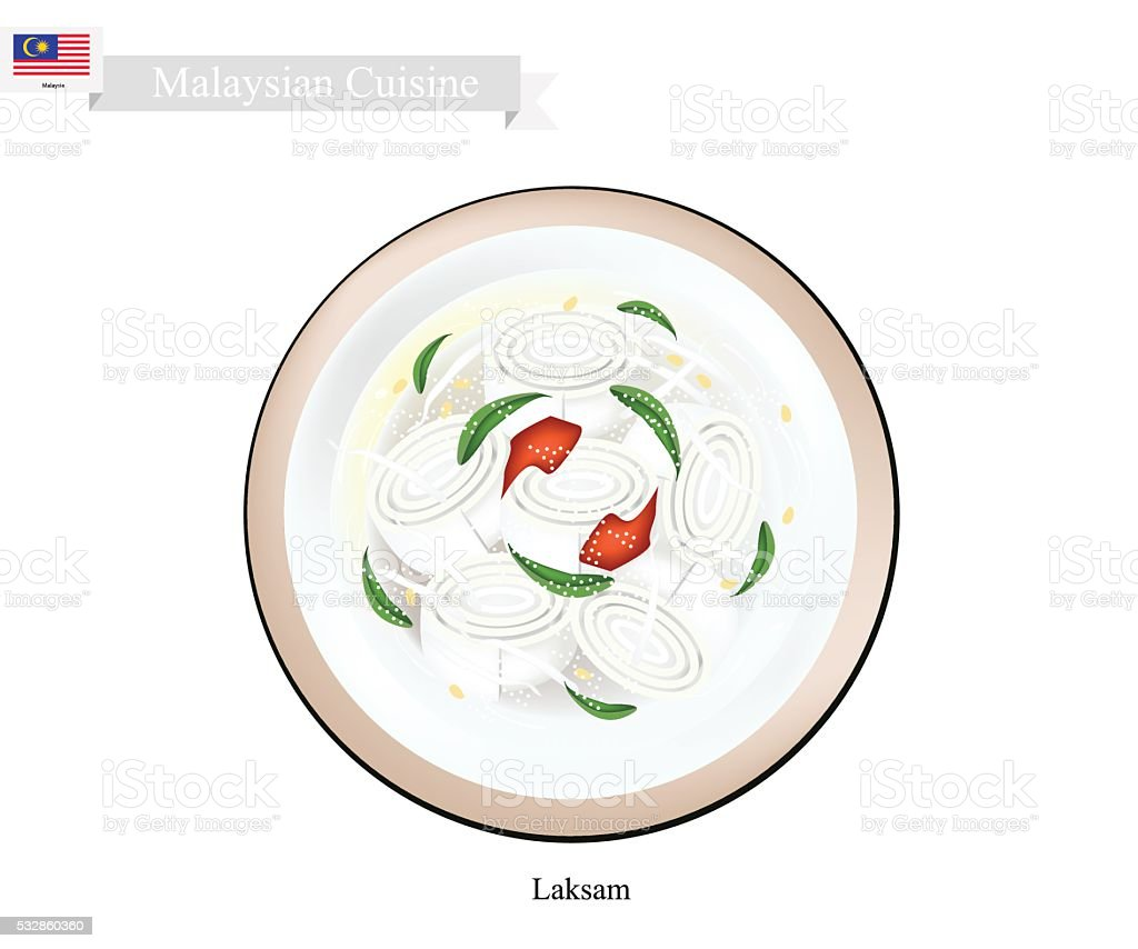 Laksam or Malaysian Wide Rice Noodle Soup vector art illustration