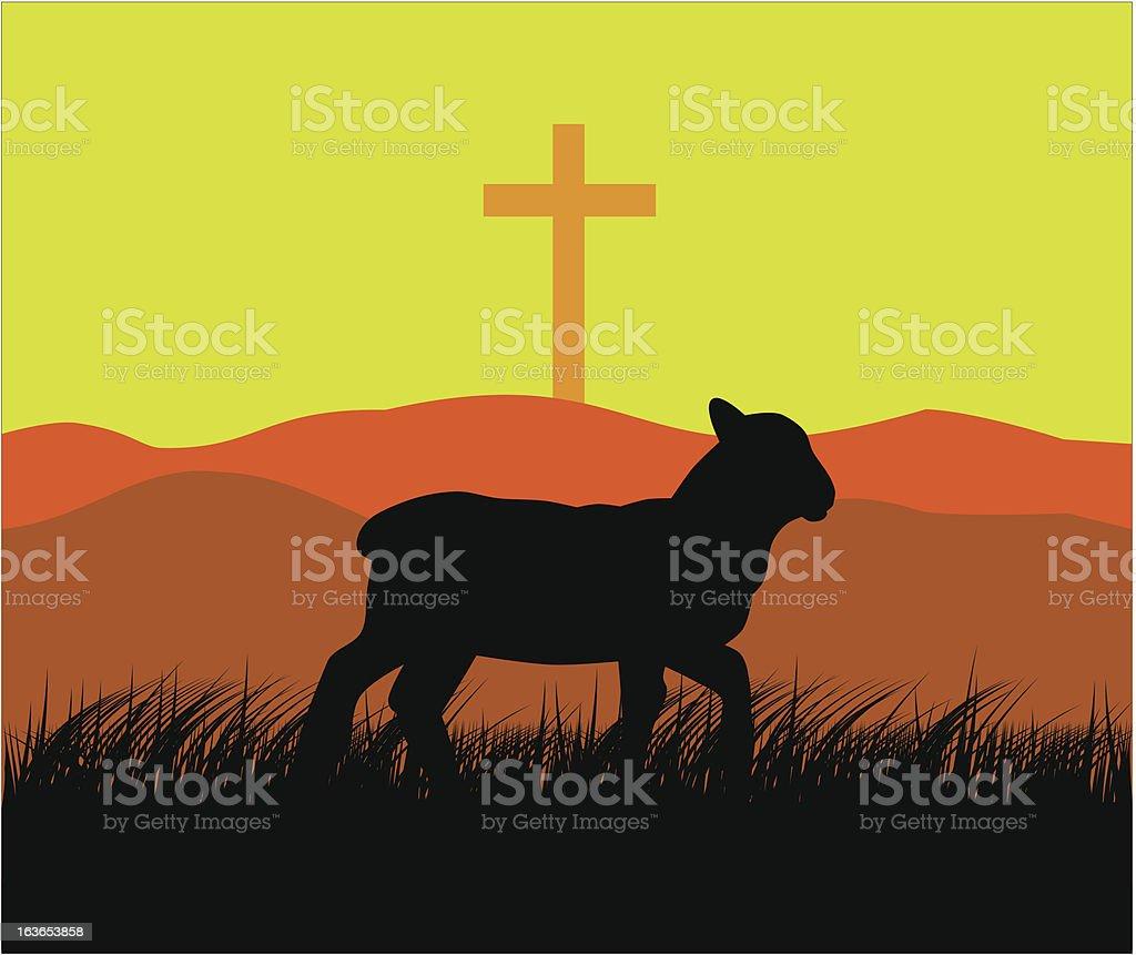 Lamb and cross royalty-free stock vector art