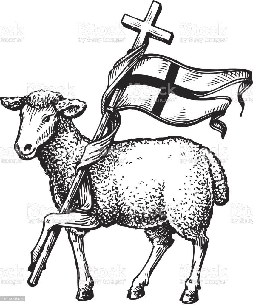 Lamb with Cross. Religion symbol. Sketch vector illustration isolated...