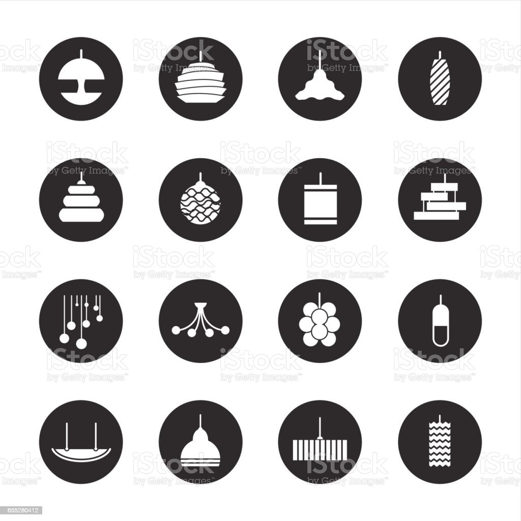 Lamp Design Icons - Black Circle Series vector art illustration
