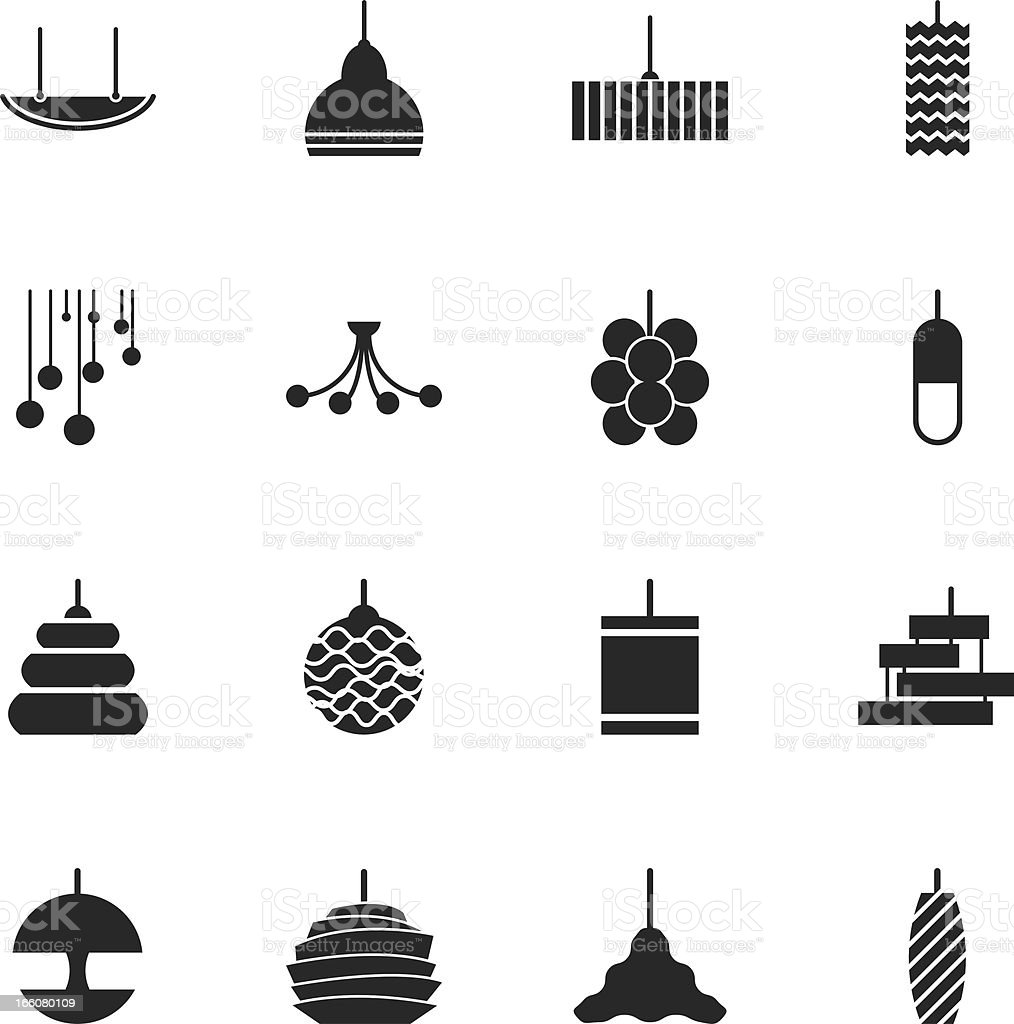 Lamp Design Silhouette Icons royalty-free stock vector art