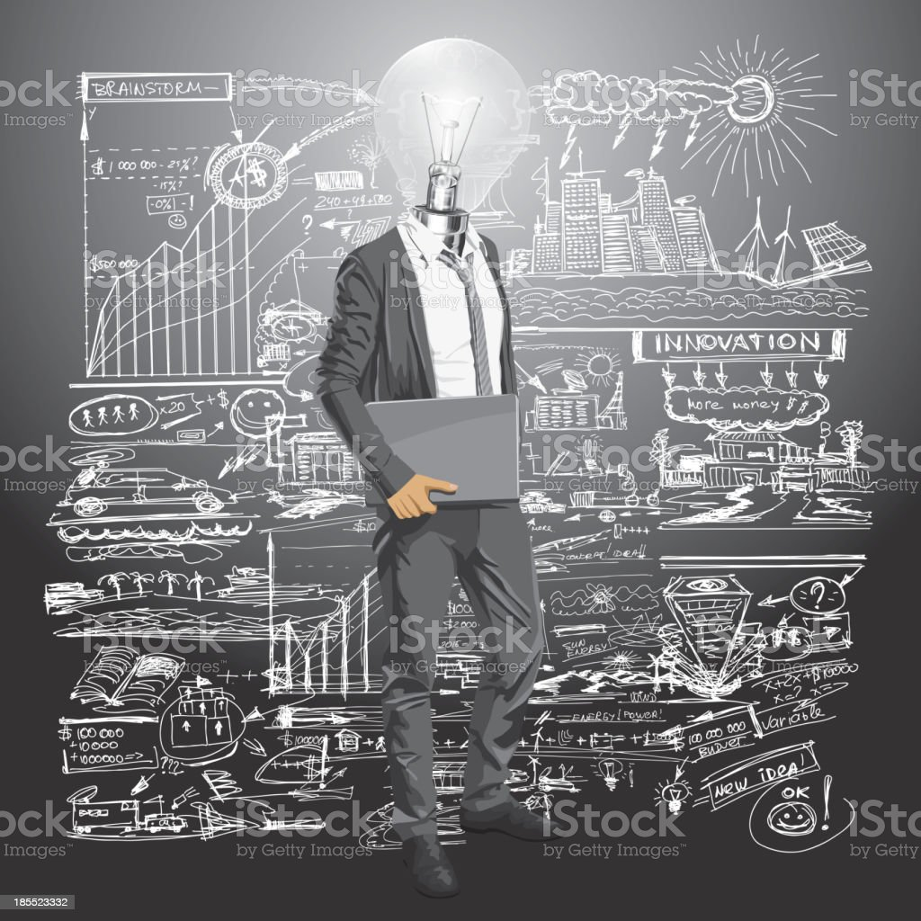 Lamp Head Man With Laptop royalty-free stock vector art