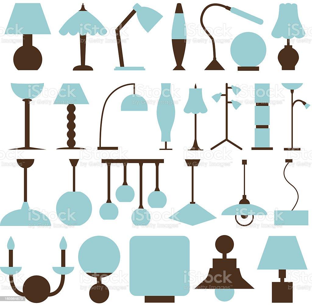 lamp icons vector art illustration