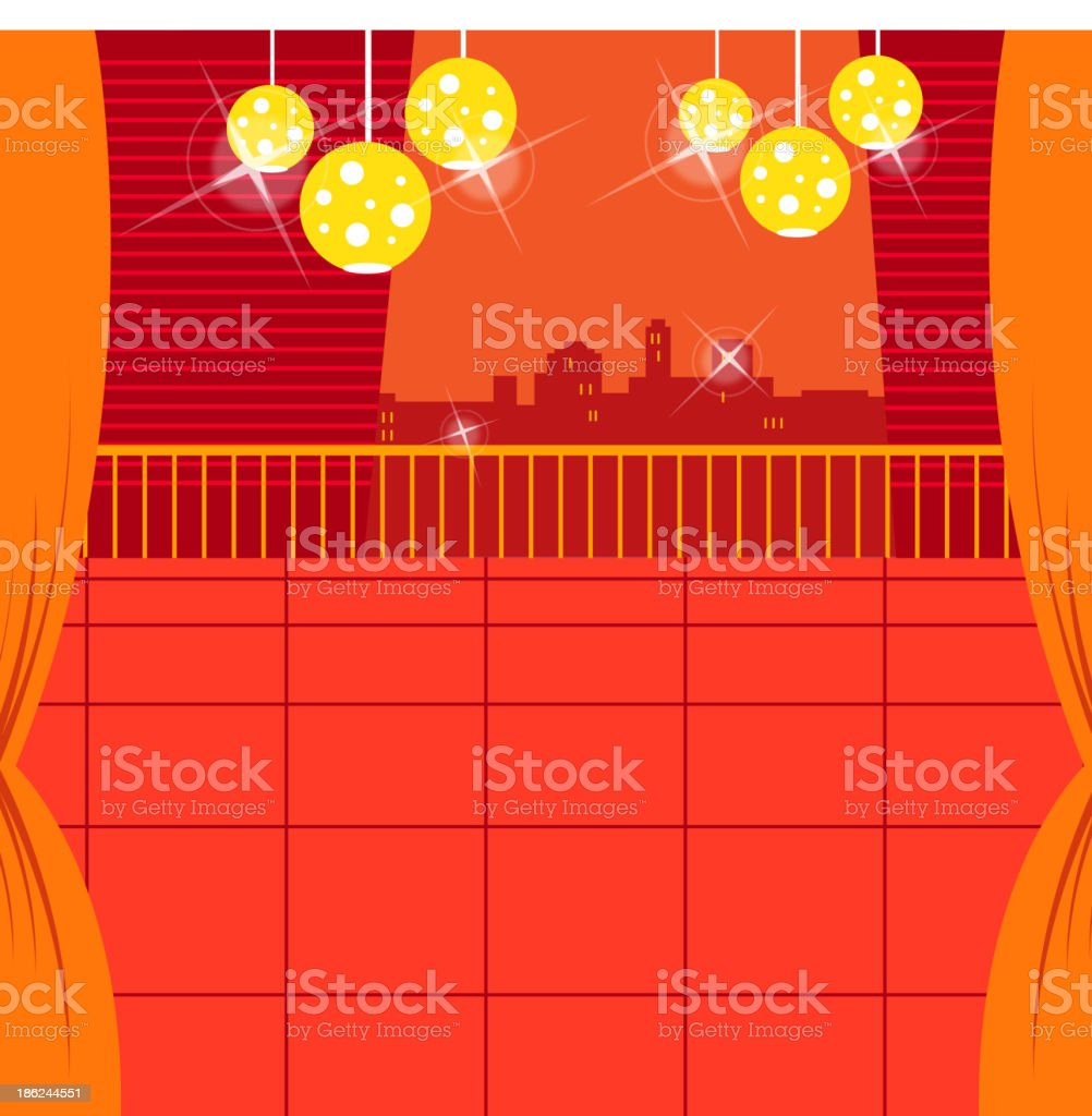 Lamp in balcony with skyline royalty-free stock vector art