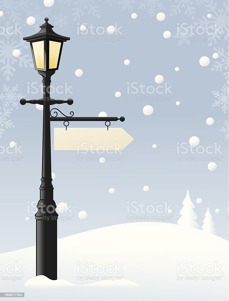 Lamp in the Snow royalty-free stock vector art