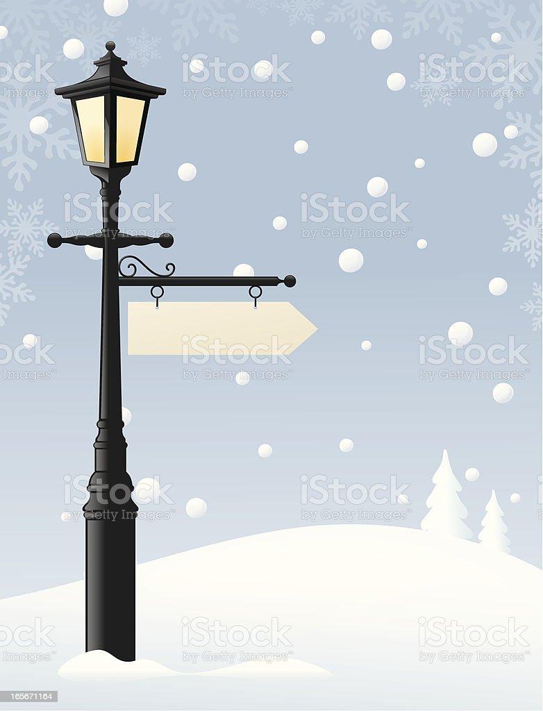 Lamp in the Snow vector art illustration