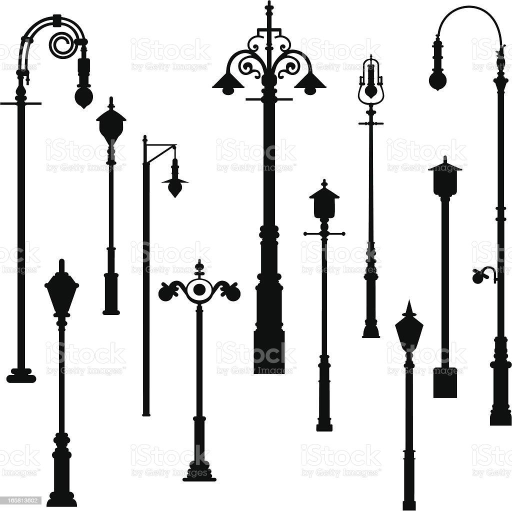 Lamp Light Post vector art illustration