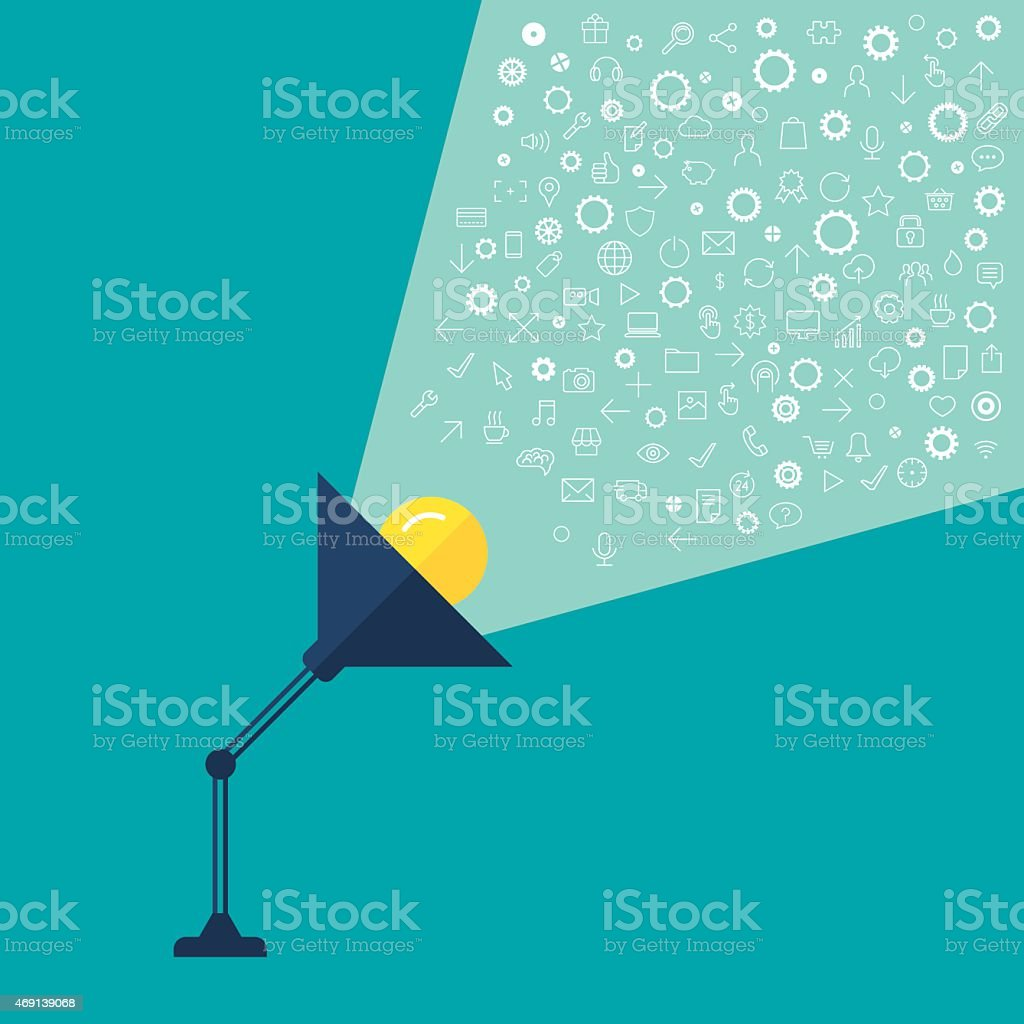 Lamp light representing creativity and ideas vector art illustration