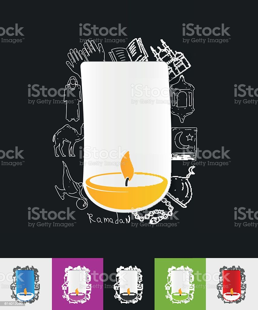 lamp paper sticker with hand drawn elements vector art illustration