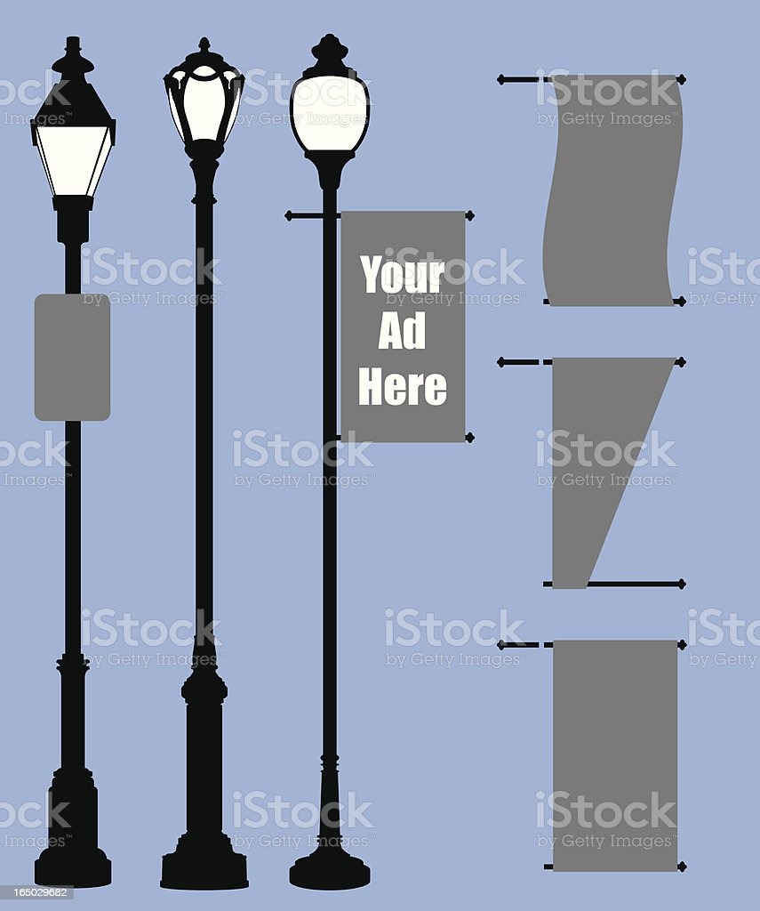 Lamp Posts and Modular Banners (vector) vector art illustration