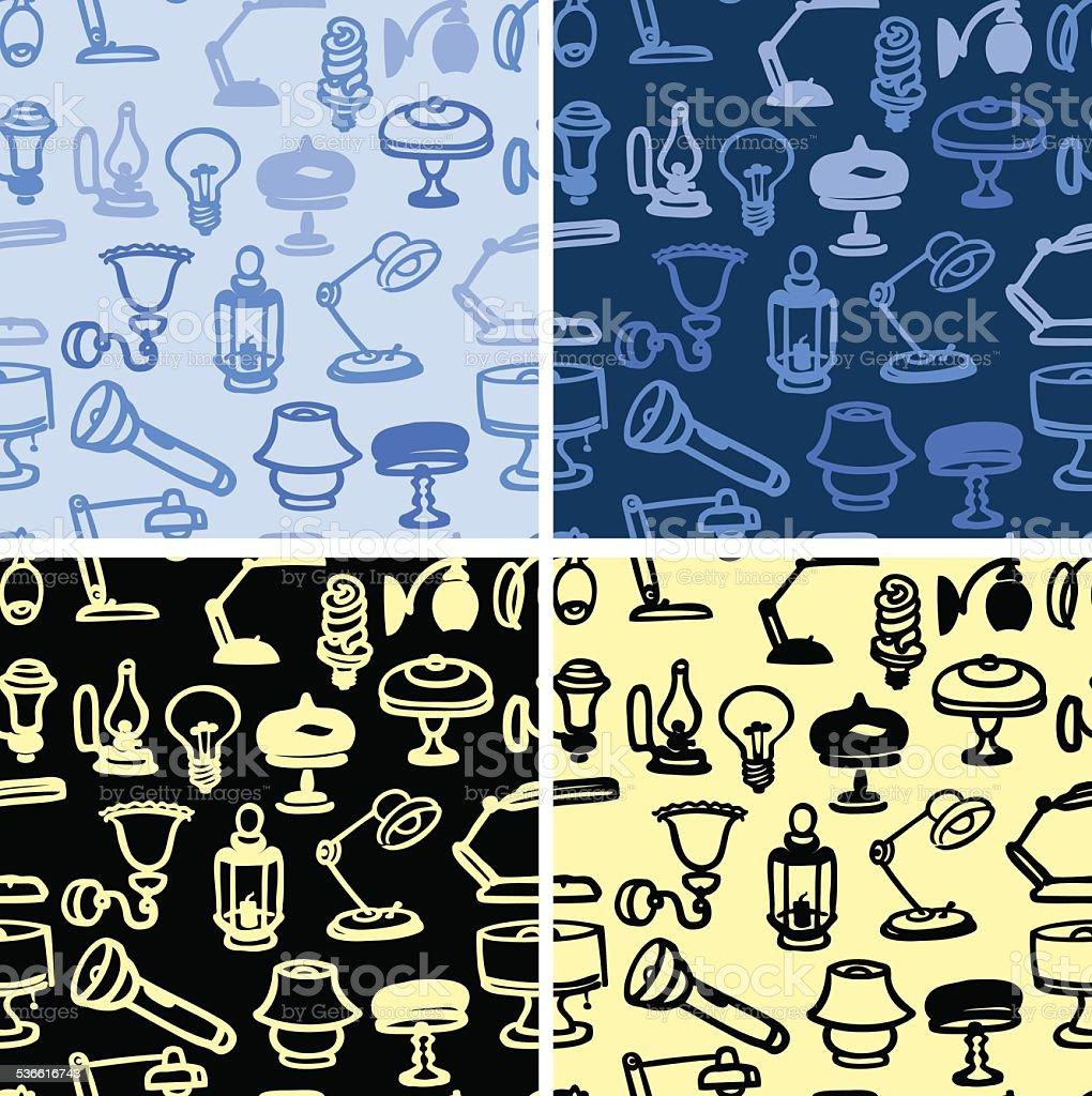 Lamp seamless patterns vector art illustration
