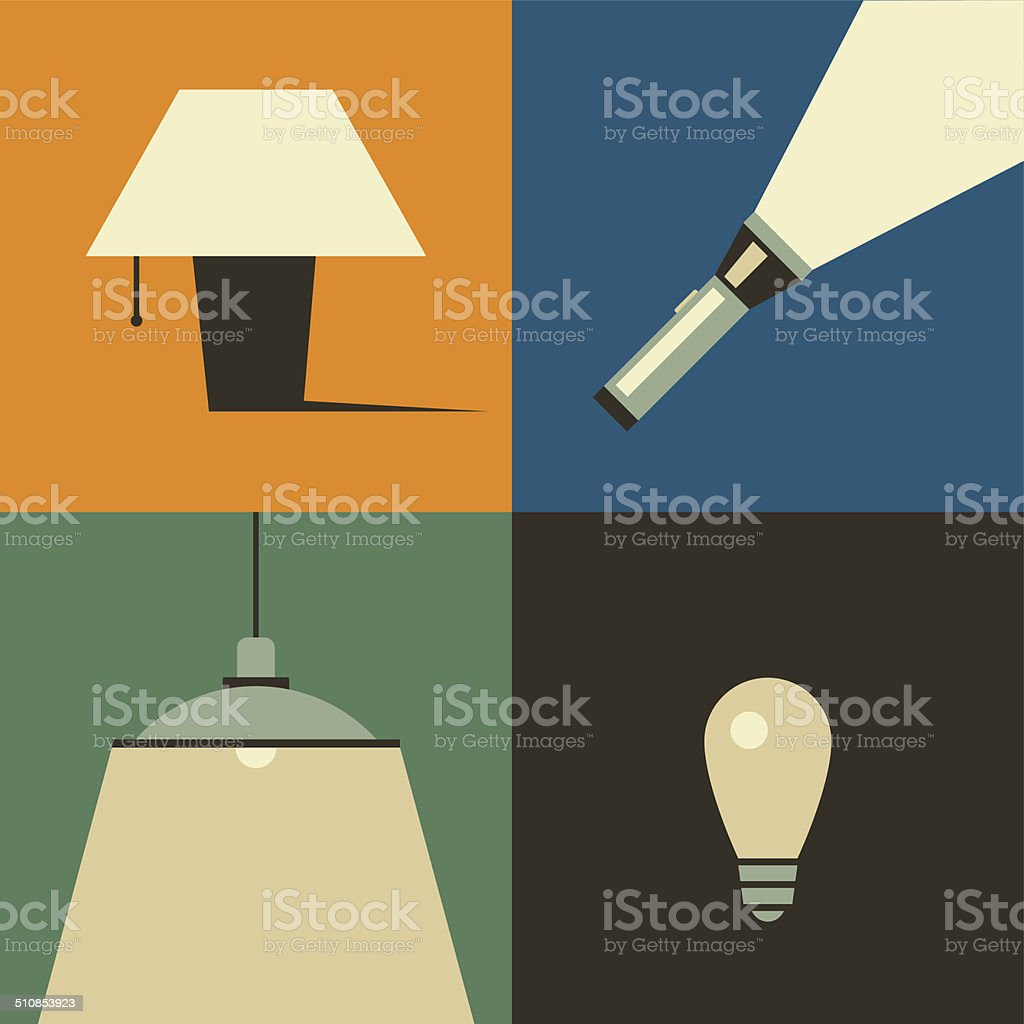 Lamp set vector art illustration