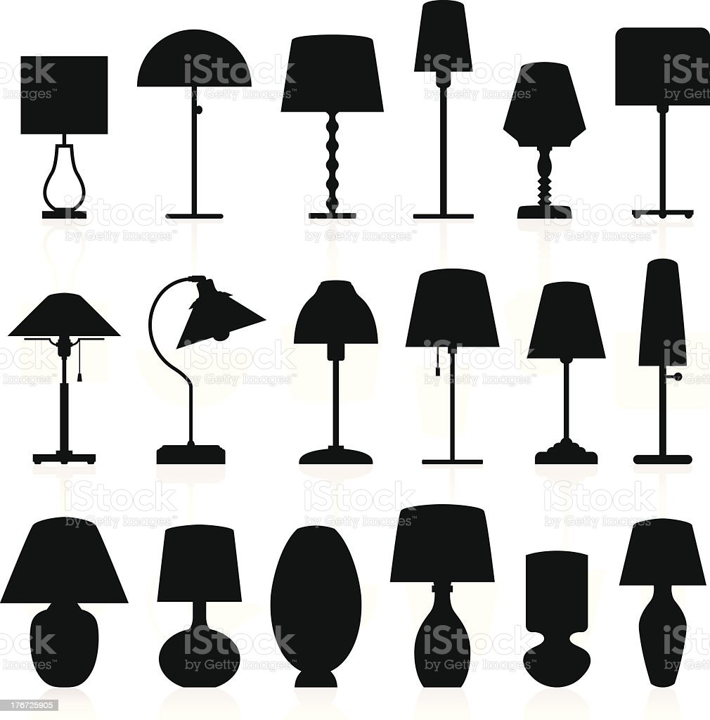Lamp Silhouettes Pack vector art illustration
