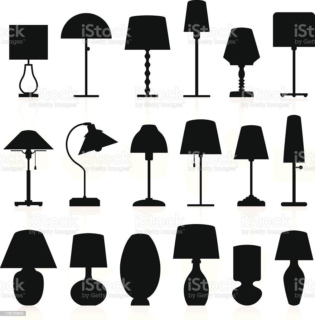 Lamp Silhouettes Pack vector art illustration