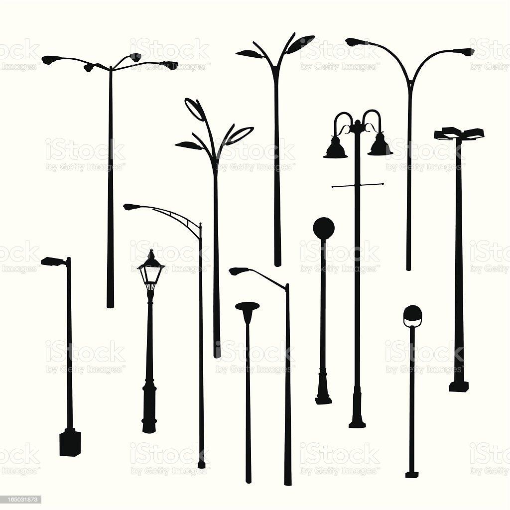 Lamposts Thirteen Vector Silhouette royalty-free stock vector art