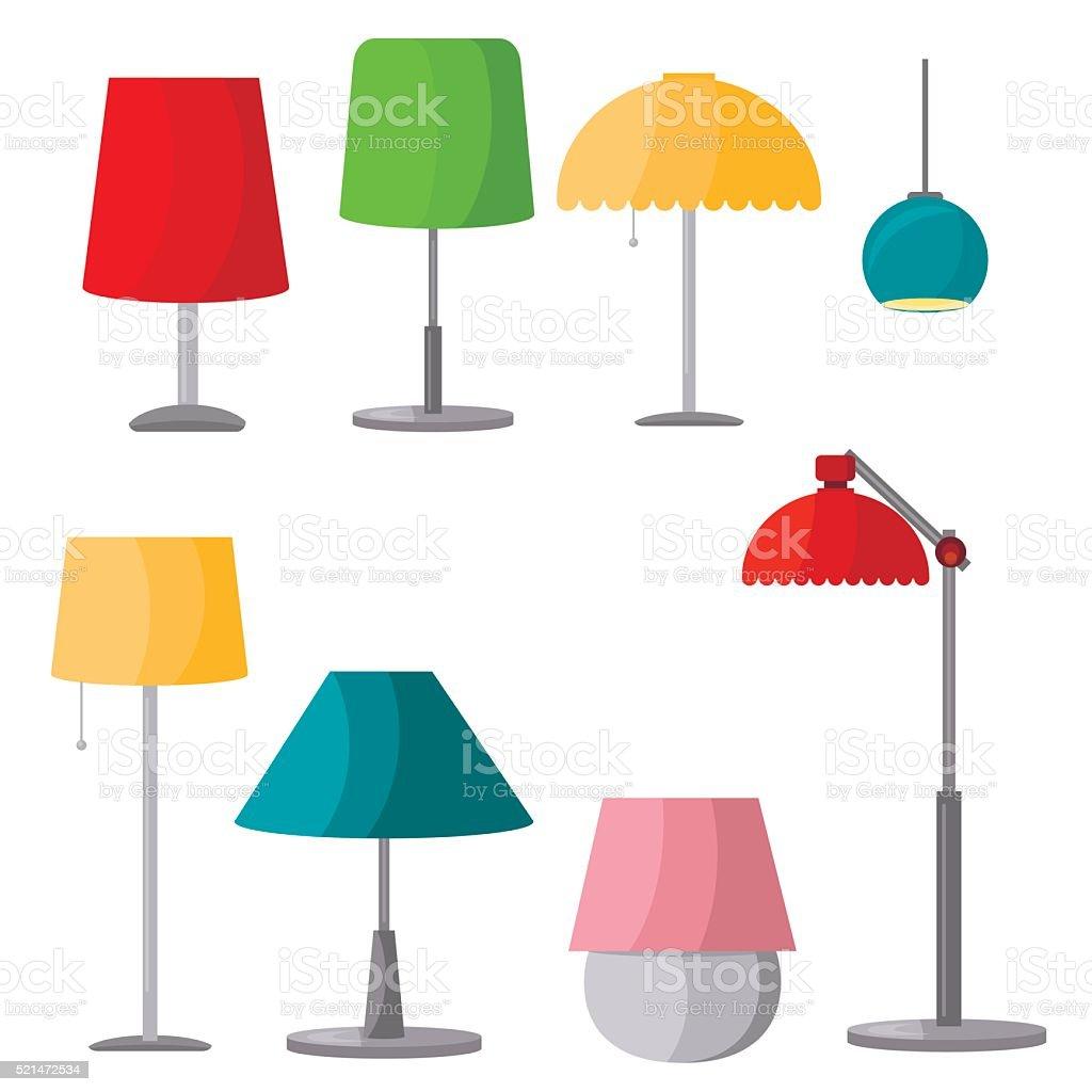 Lamps furniture set light design electric vector illustration. vector art illustration