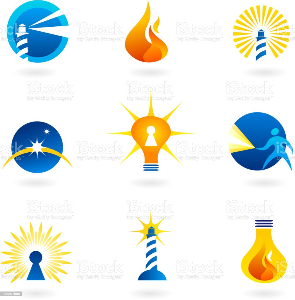 Lamps, lighthouse, light-bulb and light icons vector art illustration