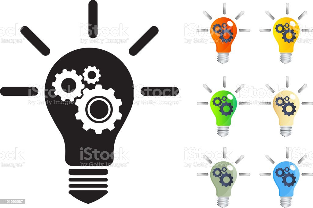 Lamps with colors representing the construction of ideas  vector art illustration
