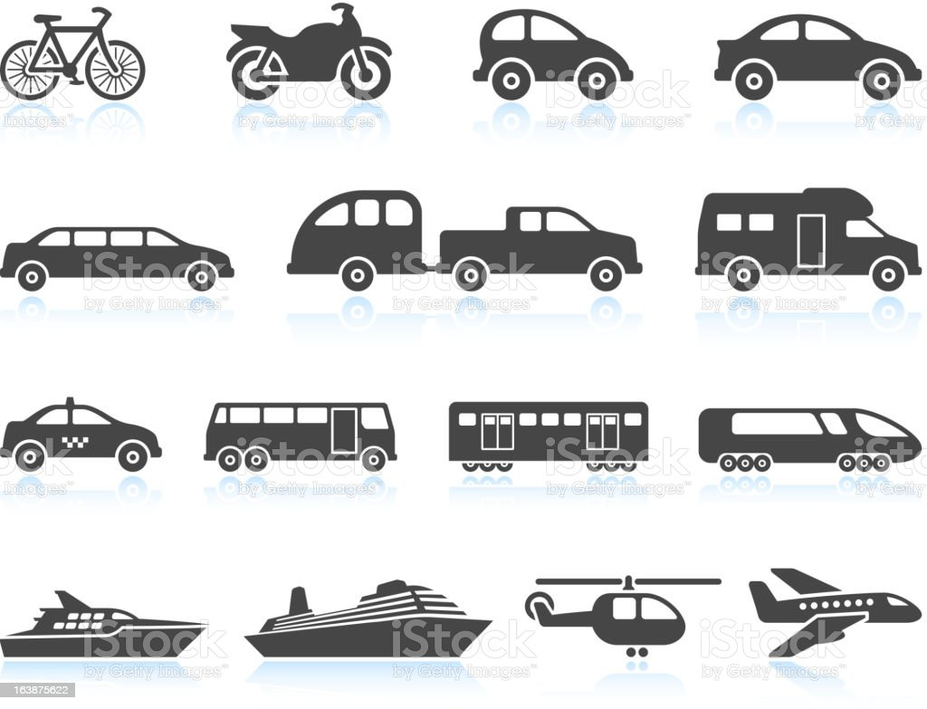 Land Air and water Transportation vehicles icon set vector art illustration