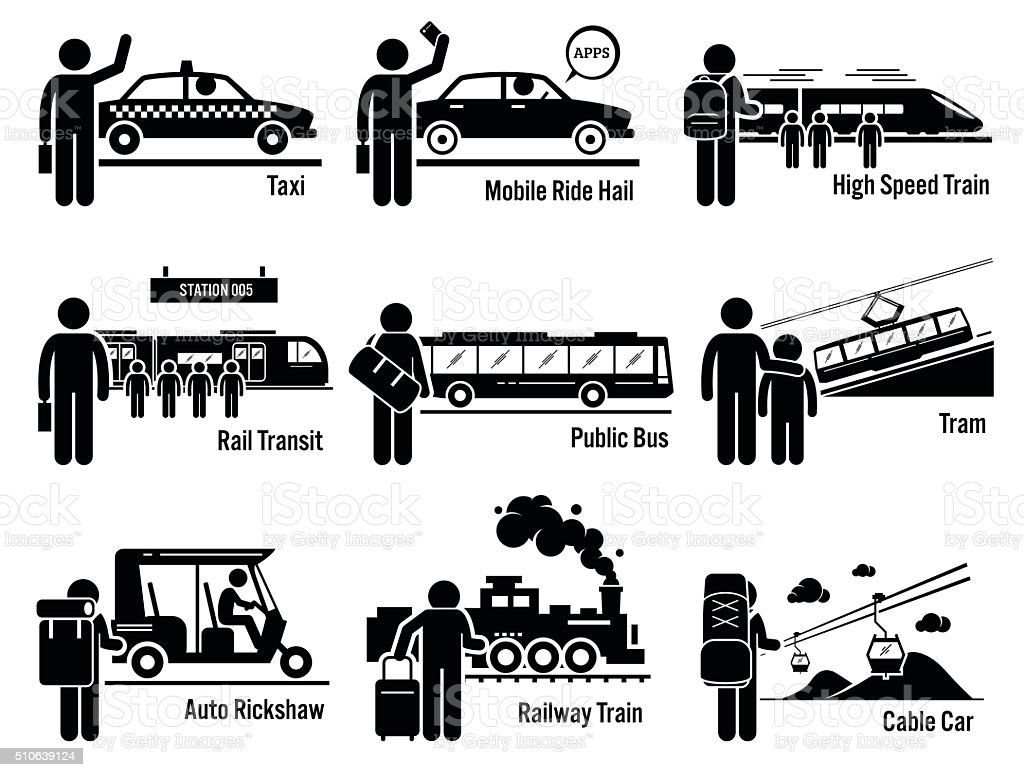 Land Public Transportation Vehicles and People Set vector art illustration