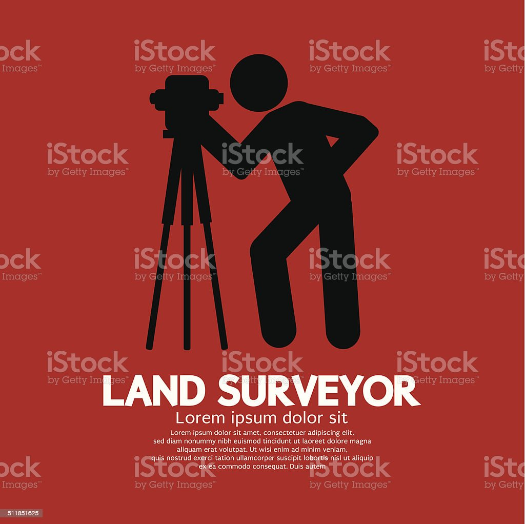 Land Surveyor Black Graphic Symbol Vector Illustration vector art illustration
